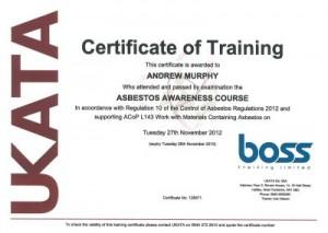 UKATA certificate of training