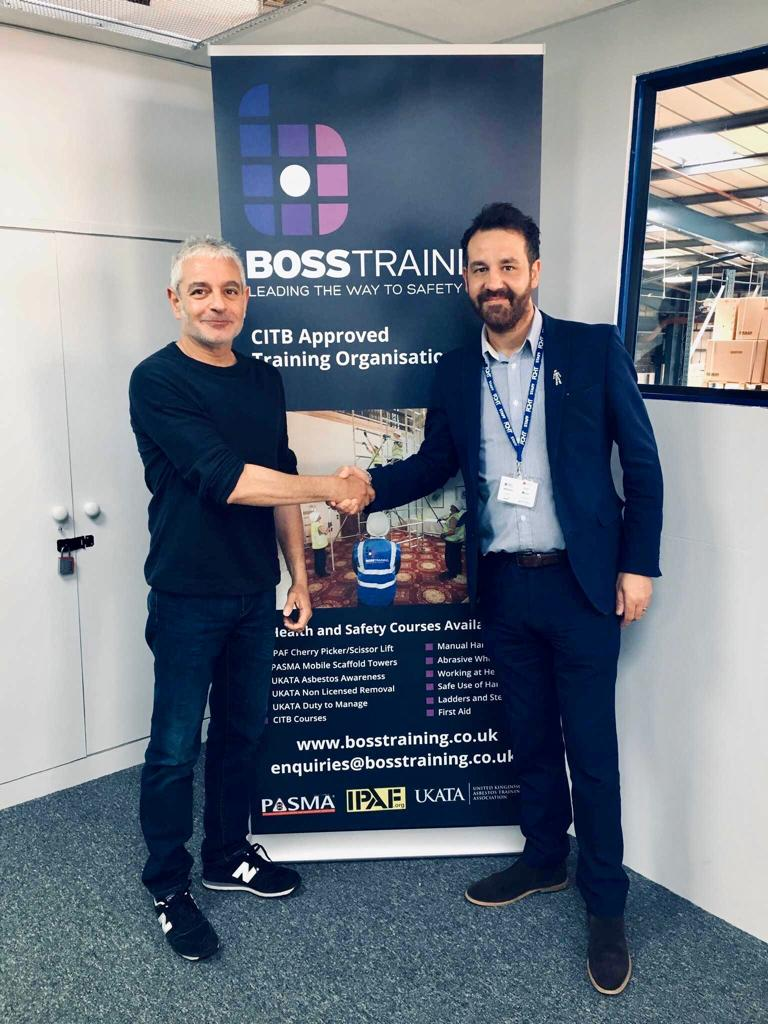 Boss Training Director agreeing sponsorship with FC Halifax Town Director